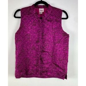 Kiko Satin Button Up Stand Collared Quilted Vest M